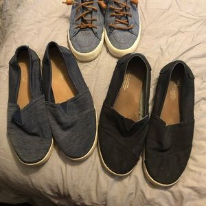 Two pair of Tom's slip on Canvas Avalon Shoes